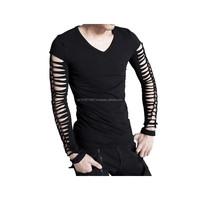 2015 Gothic black men's Long-sleeve top with slashed arms and back cotton material