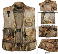 Men Summer Breathable Outdoor Hunting Fishing Camouflage Military Tactical Airsoft Mesh Vest Multi-Pocket Photographer Waistcoat