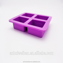 High quality cheap selling purple silicone 4 cavity soap molds
