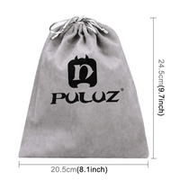 PULUZ Soft Flannel Pouch Bag with Stay Cord for Go Pro HERO6 /5 /4 Session /4 /3+ /3 /2 /1, Size: 24.5cm x 20.5cm(Grey)