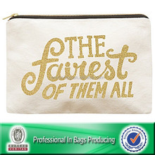 canvas zipper cosmetic bag with metallic screen printing logo