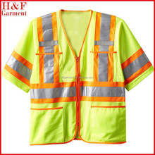 polyester neon green reflective safety vest meet with ANSI/ISEA 107-2010 Class 3 Level 2