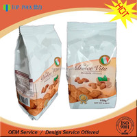 Quality plastic gusset standing bag flat bottom biscuit packaging bag 150 gram snack foods bag for cookies