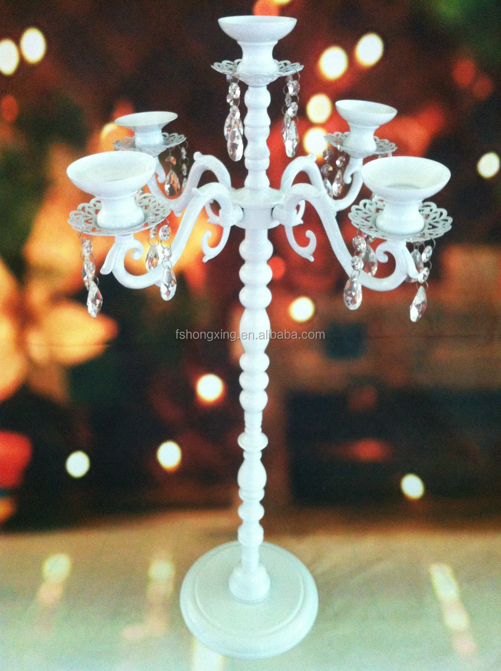 White metal and crystal hanging Candelabra for wedding table decoration centerpiece
