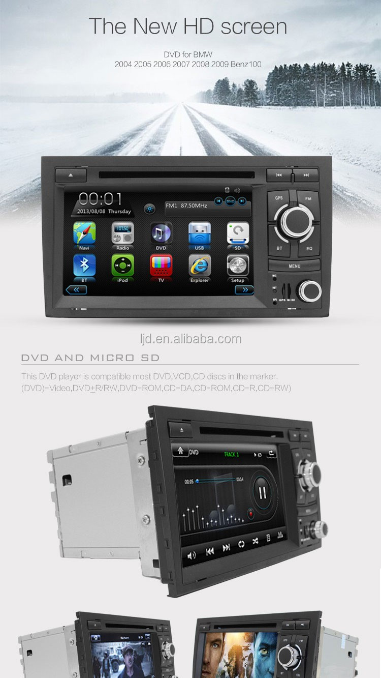 Touch screen car dvd player car dvd vcd cd mp3 mp4 player for Au-di A3 car gps dvd player with bt+radio