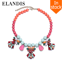 E-ELANDIS Colorful acrylic beaded necklaces for women collar crystal statement necklace 2015 bead choker necklace bisuteria muje