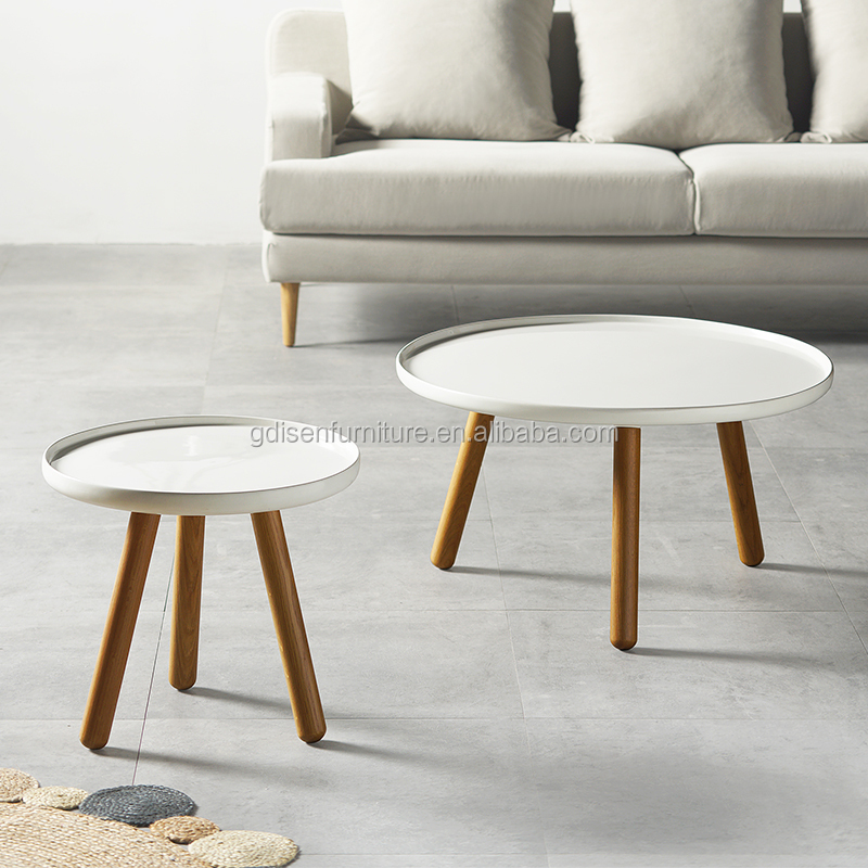 Modern Round Tablocoffee Table Set By Solid Wood Living Room Center ...
