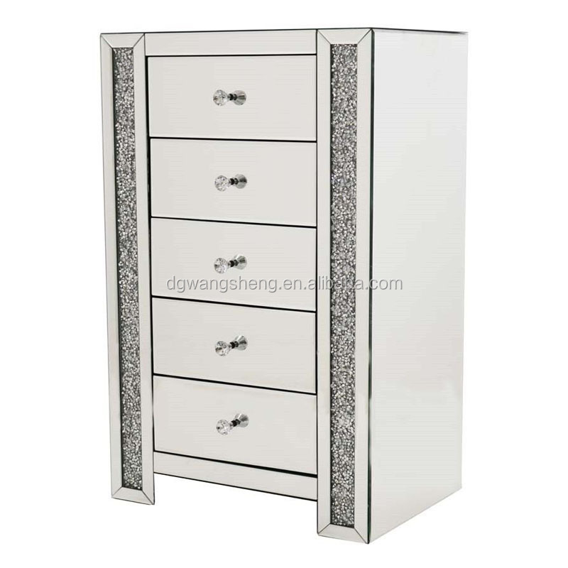 Bedroom 5 drawer glass mirrored diamond crush crystal tall chest cabinet