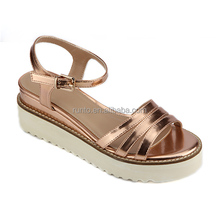 Breathable PU leather lady sandals Platform Molding sole Kitten Heels women sandals Brown color women casual summer sandals