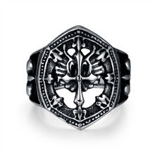 Mens Biker Fashion Stainless Steel Punk Rock Style Gothic Hollow Shape Cross Ring