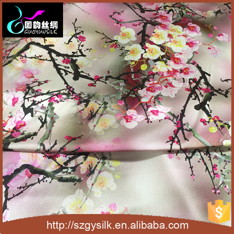 custom design digital romantic floral printed silk charmeuse 100%pure silk fabric