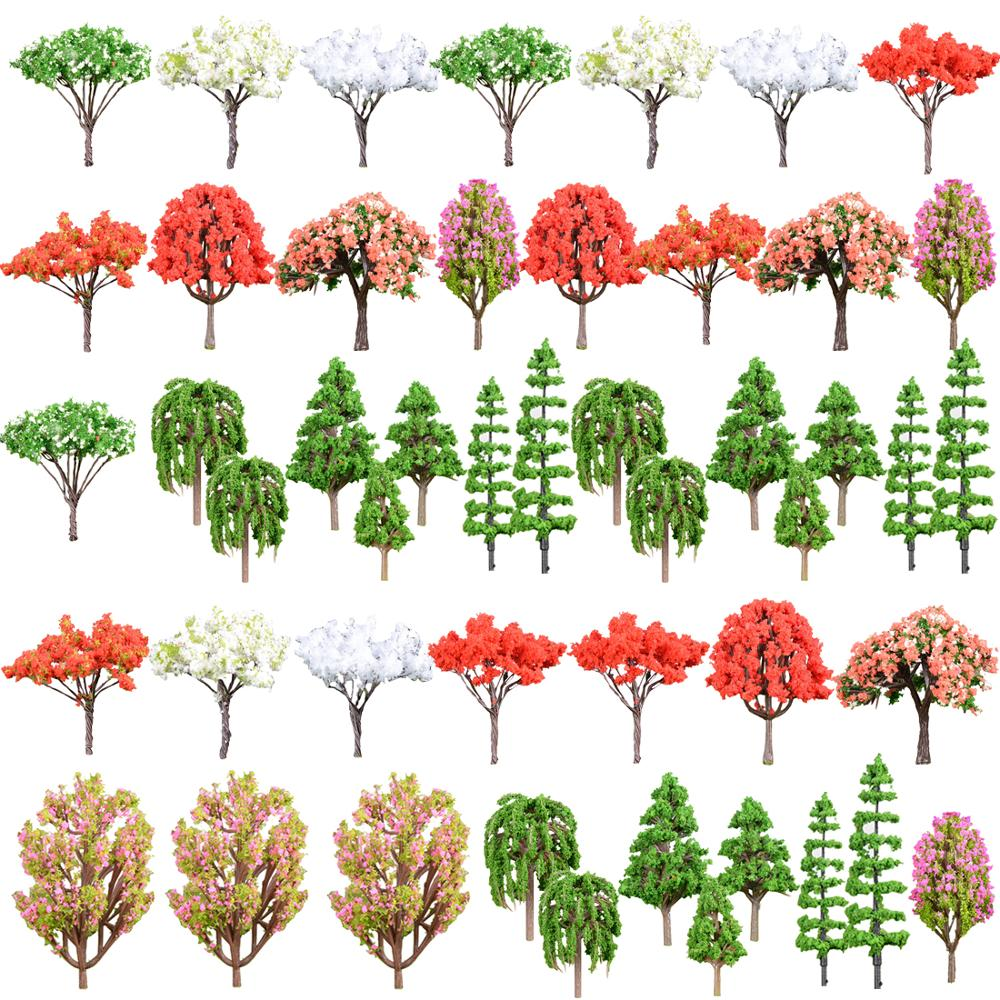 48pcs 4.2-9.7cm <strong>1</strong>:85 O HO N TT <strong>Z</strong> scale artificial landscape bushes miniature model train tree