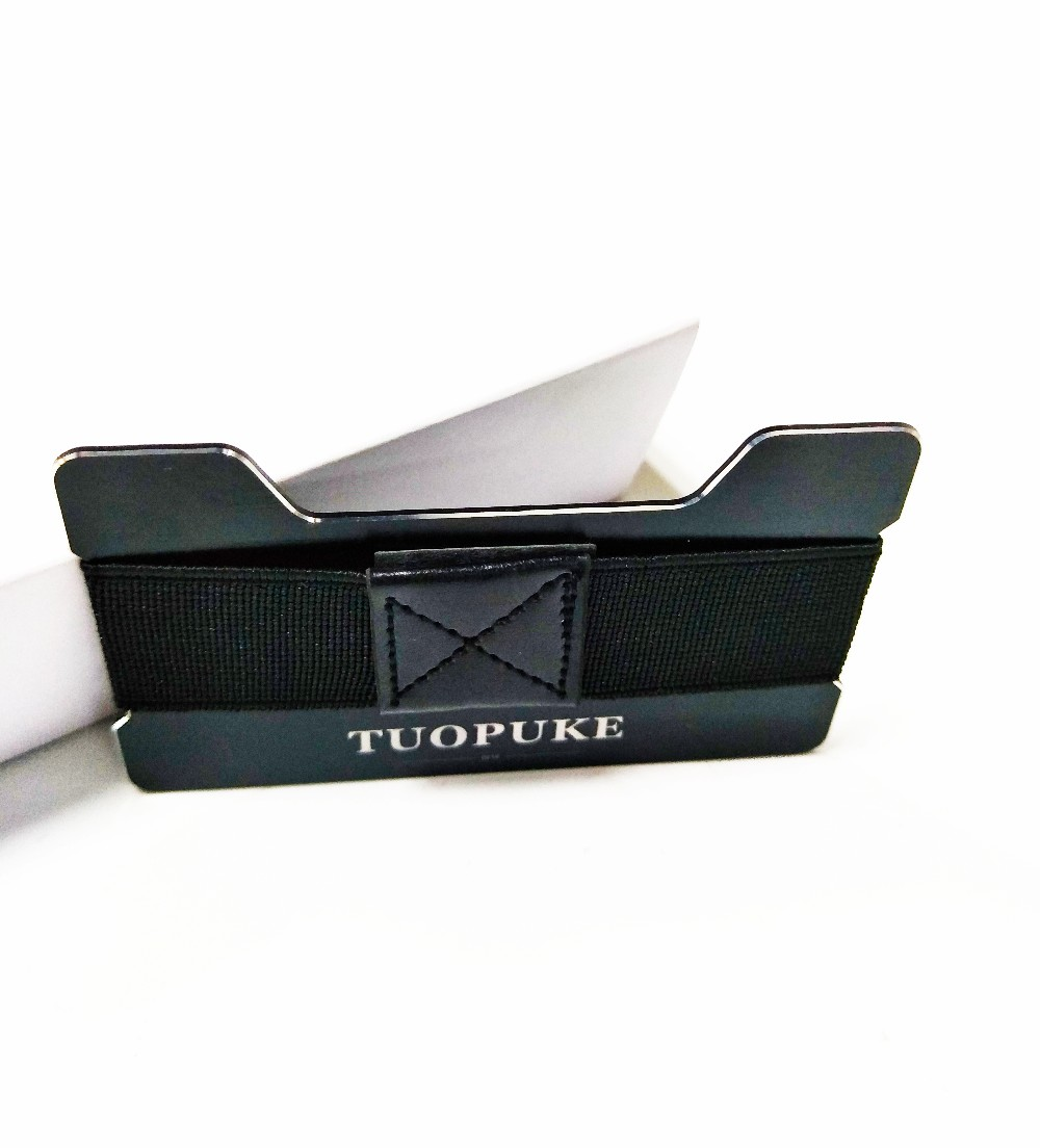 Tuopuke minimalist rfid protect aluminum credit card holder wallet with elastic cash band