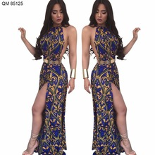 Hot selling summer olde worlde printed halter maxi dress for women