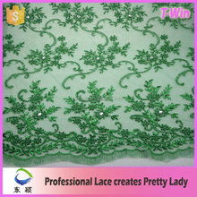 Good price hot selling lime green beaded lace fabric for wedding