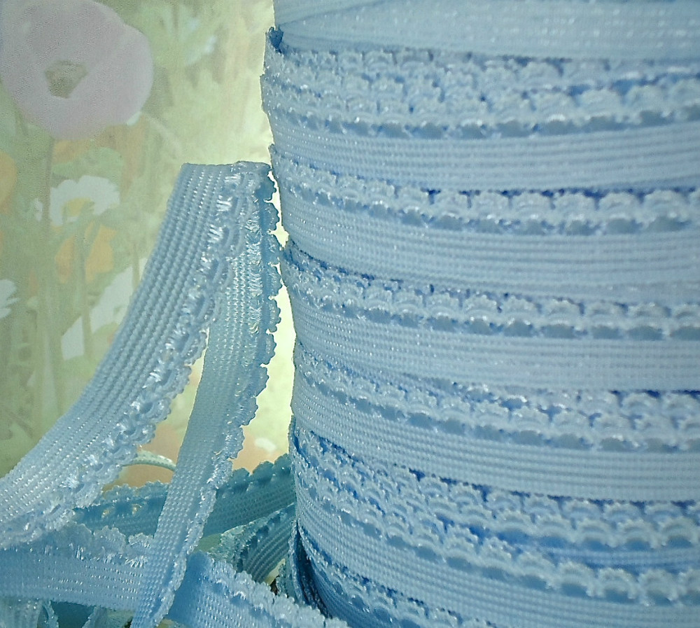 3/8 inch Light Blue Skinny Elastic with Rick Rack Scalloped for Headbands lingerie Single sided Elastic Picot Trim