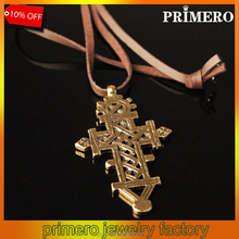 PRIMERO Ethiopian Cross Pendant Necklaces Chain 18k Gold Plated Filled Jewelry Fashion African Gift Coptic Carving Women pendant