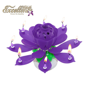 Happy Birthday Colorful Spinning Musical Lotus Flower Round Based Glim Candles For Party Fireworks