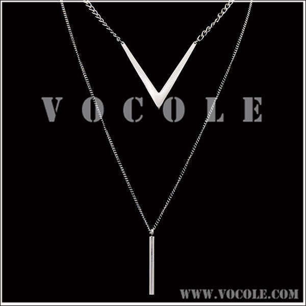new V sharp North American style Stainless Steel Double Sweater long Necklace