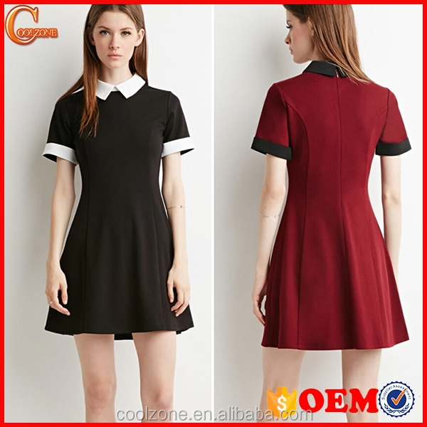 Contrast-Collared Short Sleeve Layered Women Dress OEM Vintage Dresses
