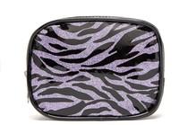 purple glitter travel cosmetic bag, zebra stripe pu cosmetic bag, womens make up bag