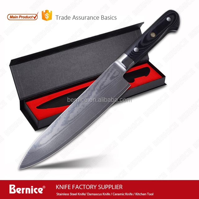 damascus knife japanese 8inch professional kitchen chef knife vg10 well balance micarta handle