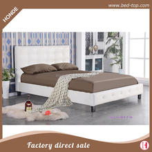 Cheap White Modern Leather Upholstered Platform Queen Bed