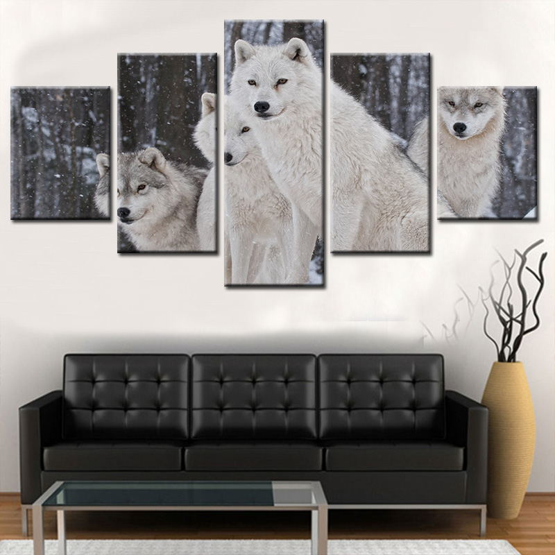 5 Pieces Animal Wolf Snow Modern Stars Home Wall Decor Canvas Picture Wars White & Balck Art HD Print Painting Canvas Artworks