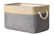 Home Decorative Collapsible Rectangular Fabric Storage Bin Organizer Basket with Handles for Clothes Storage