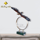 Home decor animal bronze flying eagle statue with marble base hawk sculpture
