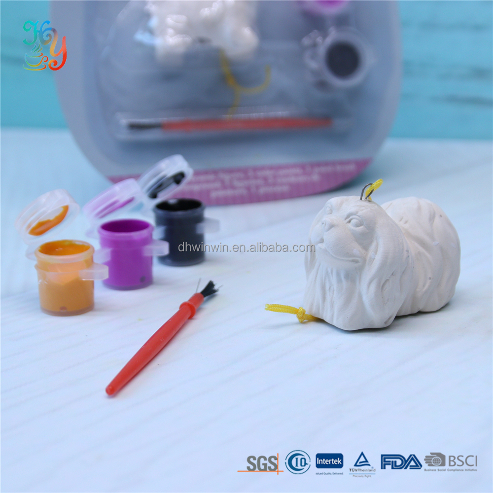 3D Promotional gift diy ceramic bisque painting and drawing toys for kids 3 colors