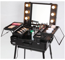 Factory direct supply professional rolling makeup case with light mirror