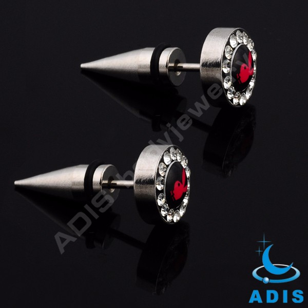 Surgical steel body piercing jewelry gem ear tapers fake gauge plug