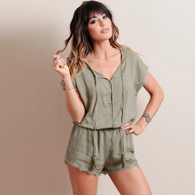 Pure color woman playsuit Apparel romper bodysuit clothing Sexy new ladies jumpsuit