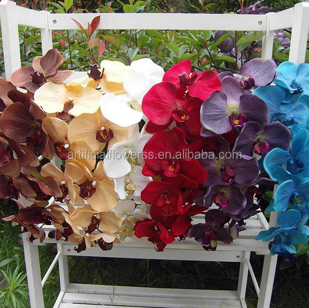11 heads wholesale home decoration silk blue artificial flowers orchid
