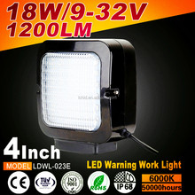 High quality and nice service 4 inch Square 18W 1200lm LDWL LED Warning work light for car truck keep you safe