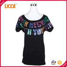 Embroider beaded women t-shirt fancy fashion women black t-shirt