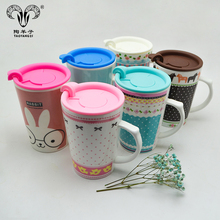 Factory custom various models colorful coffee mug travel cup wholesale high quality Ceramic Mug with plastic lid