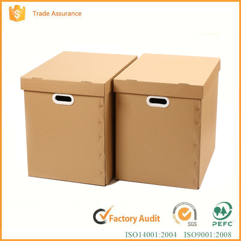 corrugated board paper material storage box with handle