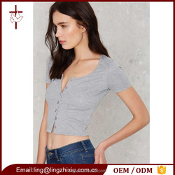 Cotton/Polyester/Elastane Gray Ribbed Knit Front Open Ladies Crop Top
