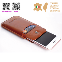 New arrival Custom Logo Genuine italian Leather id card phone case for iphone