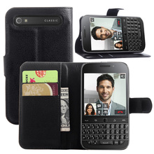 Litchi PU Card Holder Wallet Flip Leather Case For BlackBerry Classic Q20