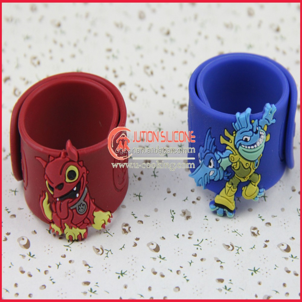 Kids silicone rubber slap charm with animal bracelets
