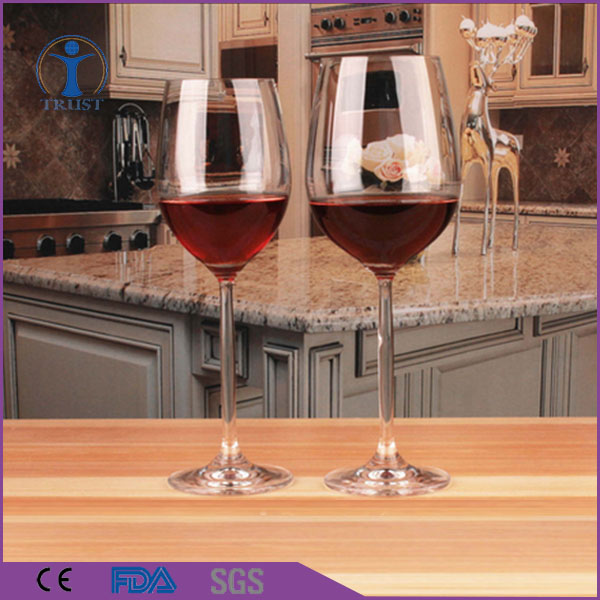 Cheap Customized Frosted Logo Decal Handmade Elegant Crystal Clear Goblet Wine Glass