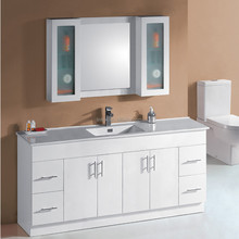 Modern 48 inch free standing integrated ceramic basin solid wood bathroom cabinet