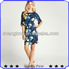 yellow and blue flower printed petal sleeve casual dress