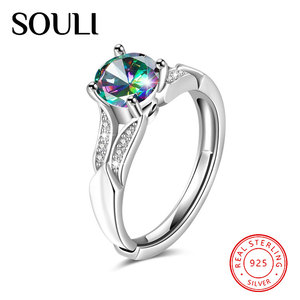 New Arrival Elegant Ladies Jewelry Single Gemstone 925 Sterling Silver Finger Ring for Engagement