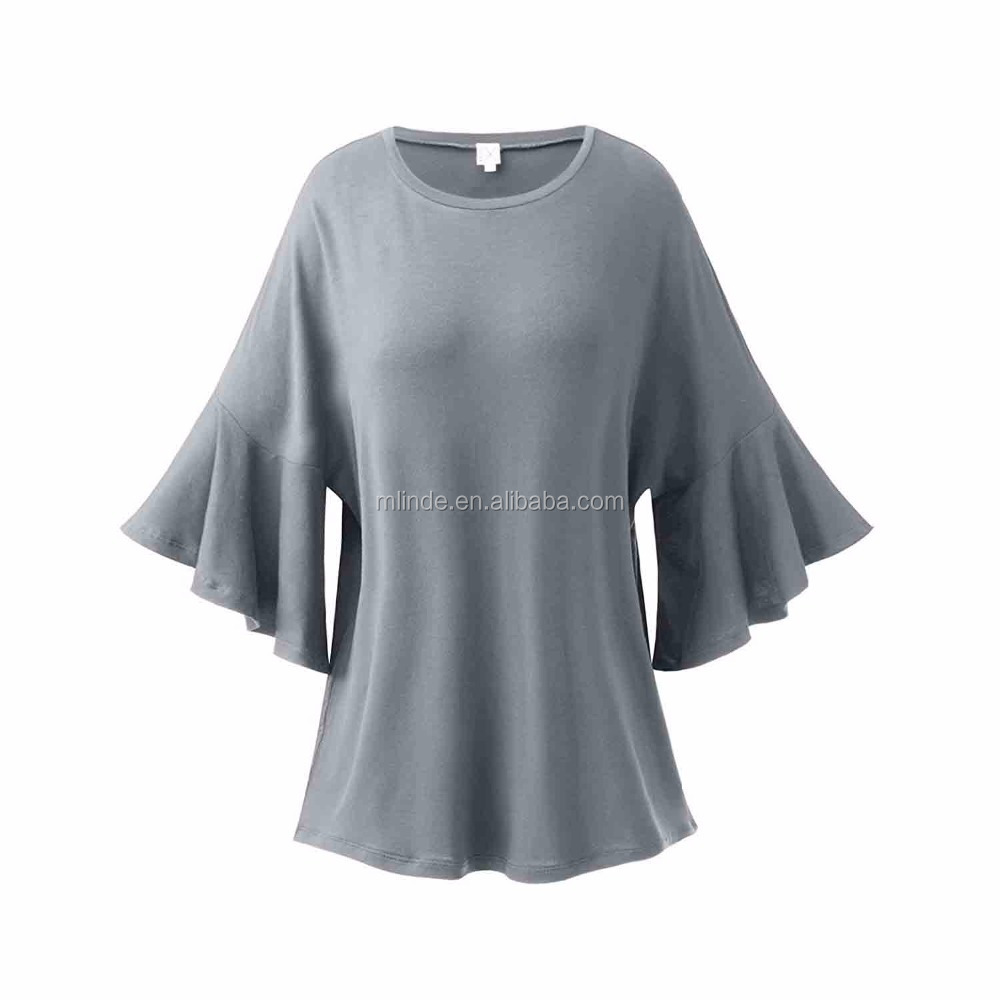 BOHO Women's Half Ruffle & Dolman Sleeve Drop Shoulder Tunic Tops Dressy Tunic Tops