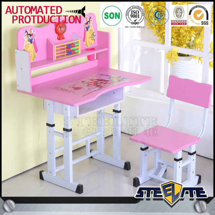 Cheap price child study table childrens and chair set pink cartoon picture kids table and chairs