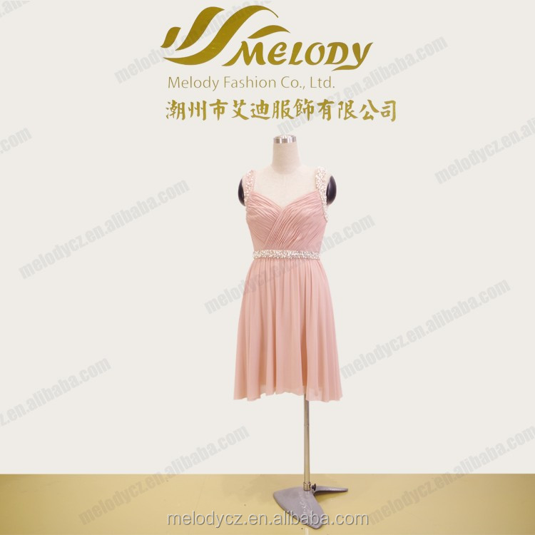 Pink summer beaded chiffon ruffle backless v-neck short dress hot sex woman pictures